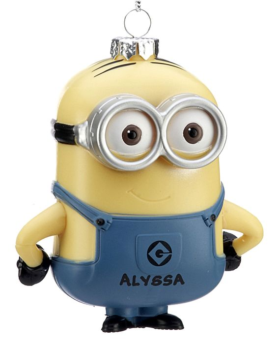 Despicable Me Minion Dave.  Delight children and adults with this innocent, impulsive creature lacking self-control. (shatterproof)  Buy it now for only $10.95 at www.ornamentshop.com