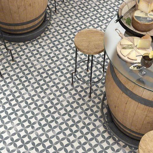 Carrelage Style Ancien Quatre Feuilles 20x20 Cm Kerala Noir 1m Carreaux De Ciment Noir Et Blanc Carrelage Vintage Carreaux Ciment