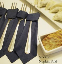 cute for father's day brunch or little man party - how to fold a napkin like a tie