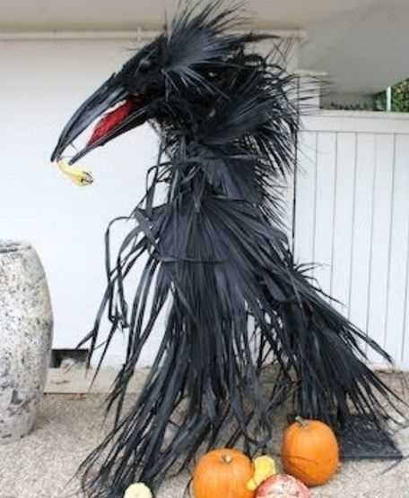 Scary Crow  Scarecrow ~ this WILL happen in my yard haunt!!  Yep - I'm gonna be curb-shopping the neighborhood yard debris piles for palm fronds.  - (via halloweenforum)