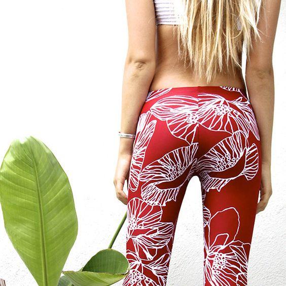 Pacifica Surf Leggings - Red Flower by Seea! YES!