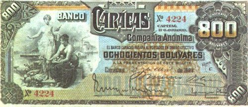 Pieza bbc800bs-aa02-c4 (Anverso). Billete del Banco Caracas. 800 Bolívares. Diseño A, Tipo A. Fecha Abril 27 1898. Serie C4