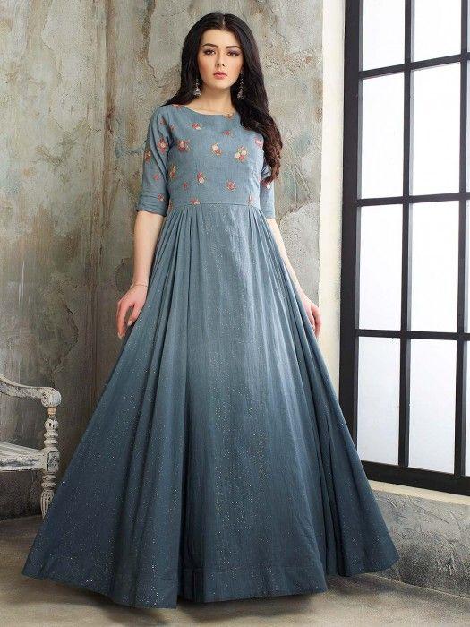 Cotton Silk Floor Length Anarkali Pakistani Salwar Suit In Grey Latest Salwar Suits For Women Latest Long Dress Design Casual Gowns Kurti Designs Party Wear