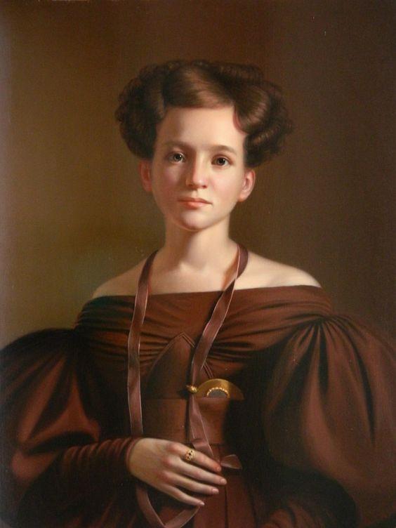 19th c. American School- Woman in Brown Dress- oil on panel, ca. 1835. 30 x 24''