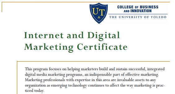 The University of Toledo College of Business and Innovation's Interactive Marketing Initiative is offering a digital marketing certificate beginning June 8, 2012.