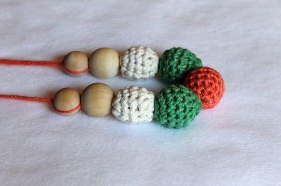 Crochet Nursing Necklace Peach and Green by CraftsbySarahLiz