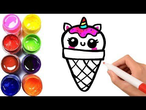 Como Dibujar Y Colorear Helado Unicornio Kawaii Dibujos Para