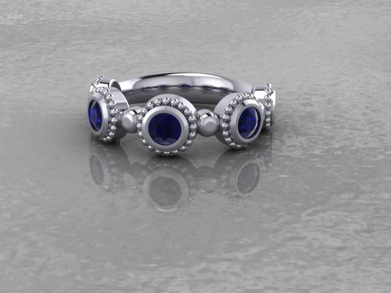 Inspiration Point Exclusive 14KT White Gold Hand Crafted Genuine Sapphire Designer Ring by InspirationPointLD on Etsy
