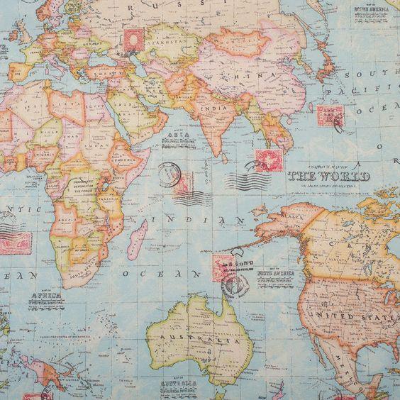 Dekostoff - Weltkarte