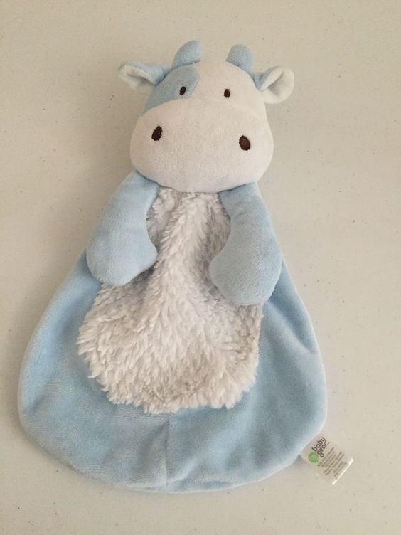 Baby Gear Blue White Cow Baby Security Lovey Blanket Plush Squeaks #BabyGear