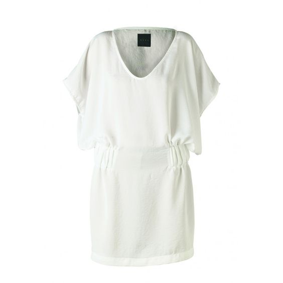 """Nubu Dress With Bat Sleeves And Pulled At Waist """"Fio"""" - White ❤ liked on Polyvore"""