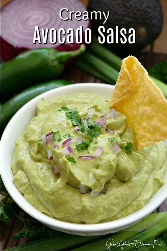 Creamy Avocado Salsa Is A Delicious Appetizer Recipe With Avocados Sour Cream Jalapenos And Lots More Yu Avocado Salsa Recipe Appetizer Recipes Salsa Recipe