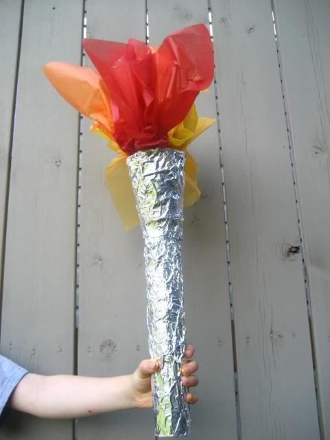 Olympic torch made from paper towel, paper cup, foil and tissue paper.