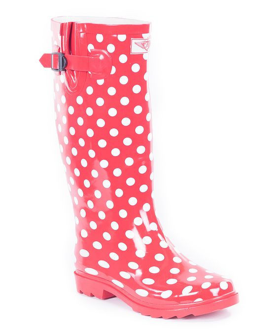 Red Polka Dot Rain Boot | Rain boots, Dots and Rain