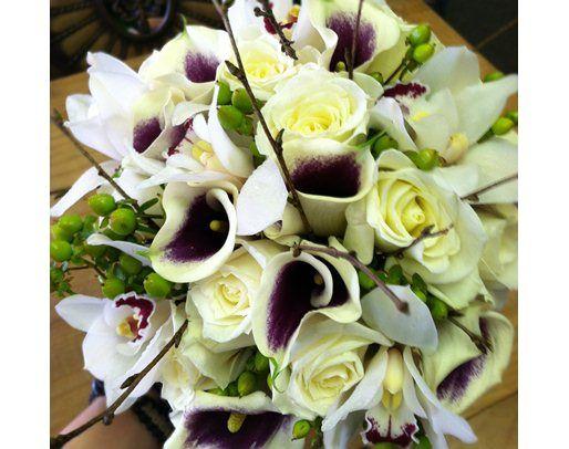 eggplant bouquets | White and Eggplant Bridal Bouquet