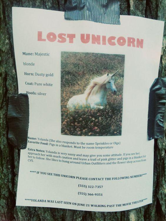 Aunt Peaches: Missing: Yolanda the Sassy Unicorn