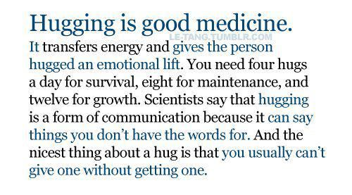 Hugging is good medicine.  By Positive Inspirational Quotes ( PIQ)