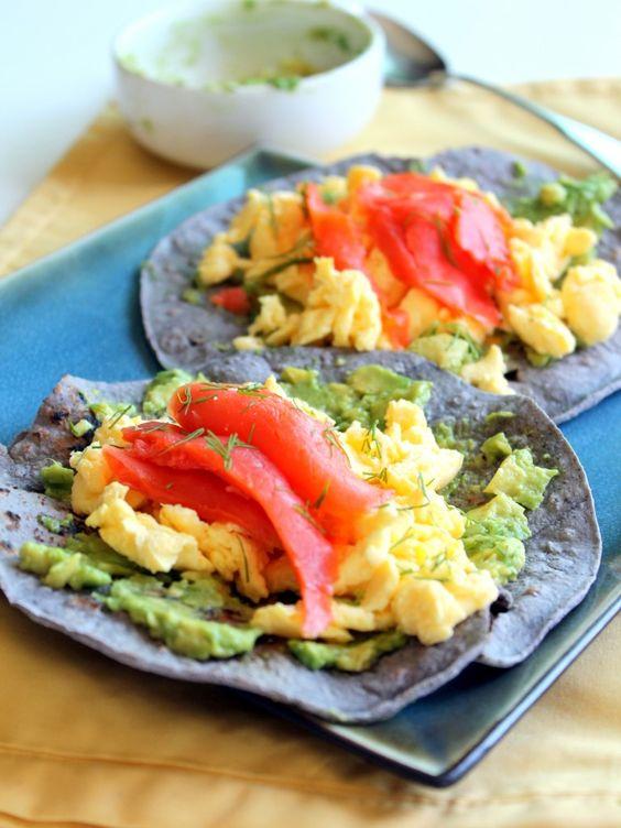 Blue corn tortillas stuffed with scrambled eggs, smoked salmon ...