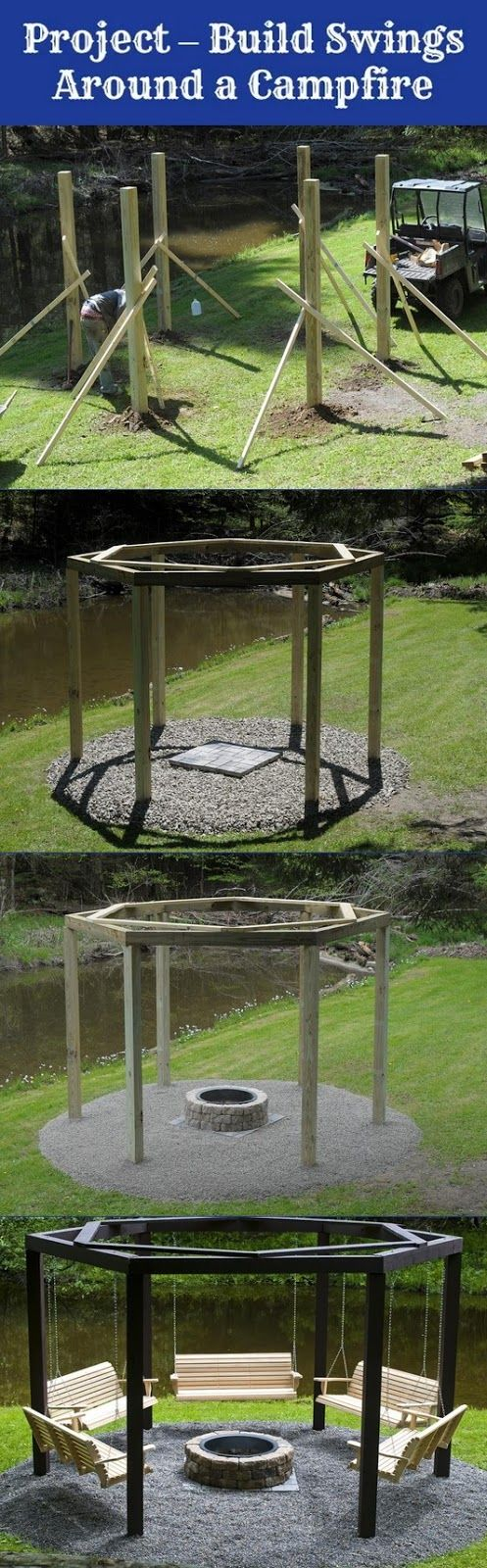 Build swings around a campfire, looks kind of like a pergola with five wooden swings angled around the firepit ........... so cool.