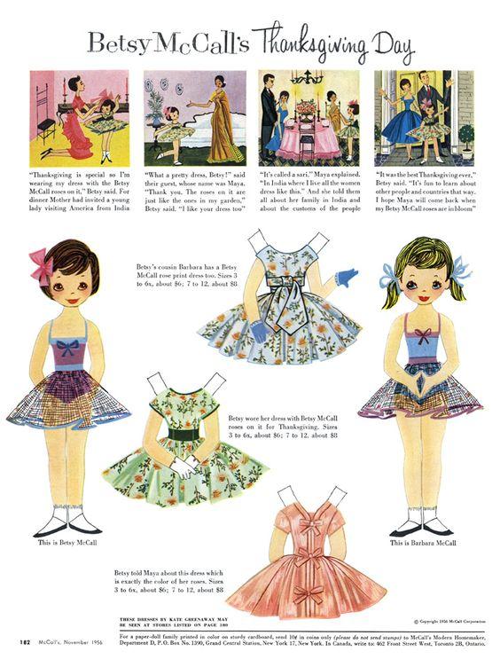 (⑅ ॣ•͈ᴗ•͈ ॣ)♡                                                             ✄Paper Dolls Betsy McCall's Thanksgiving day - 1956
