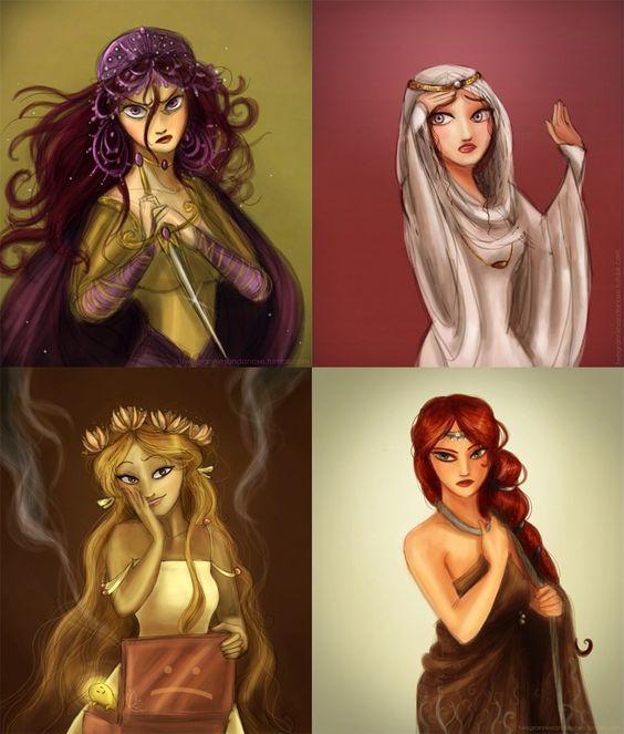 Tragic Greek Ladies by Arbetta From left to right: Medea, Cassandra, Pandora and Antigone