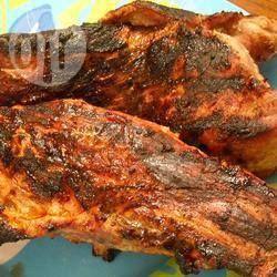 Filet de porc au four.  Sauce soya, moutarde de dijon, ail, huile.  Porc filet.