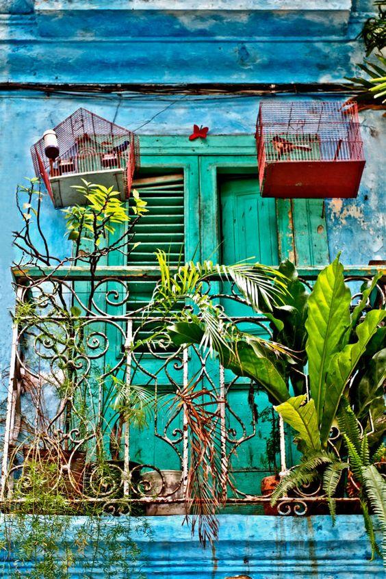 Balcon, Cages à oiseaux, photographie de Cuba, la Havane, photographie urbaine, Street, bleu, vert, rouge, sticker, maison ou bureau Decor, ...