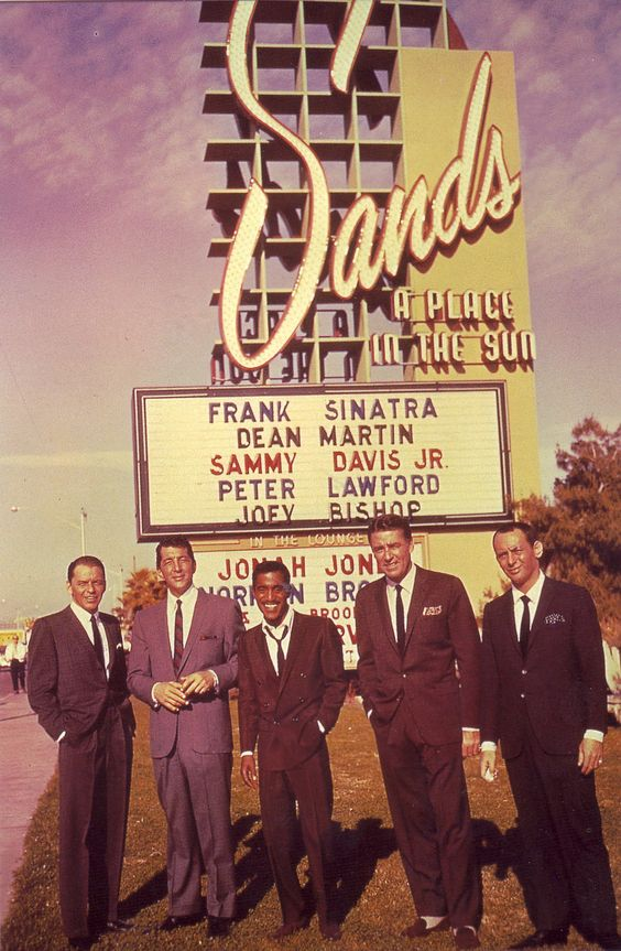 The Rat Pack outside the Sands Hotel Las Vegas February, 1960.   Photographer Floyd McCarty
