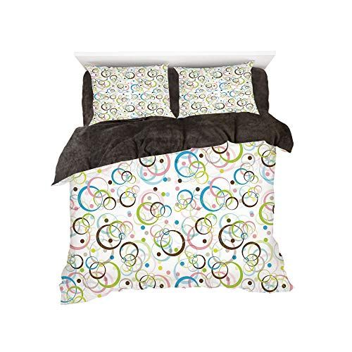Flannel 4 Pieces On The Bed Duvet Cover Set 3d Printed For Bed Width 4ft Pattern By Brown And Blue Intertwined Cir Bed Duvet Covers Duvet Cover Sets Bed Widths