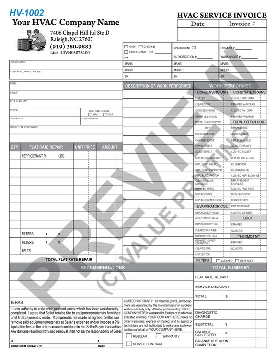 This Flat Rate Invoice Has Space For  Units Serviced Along With