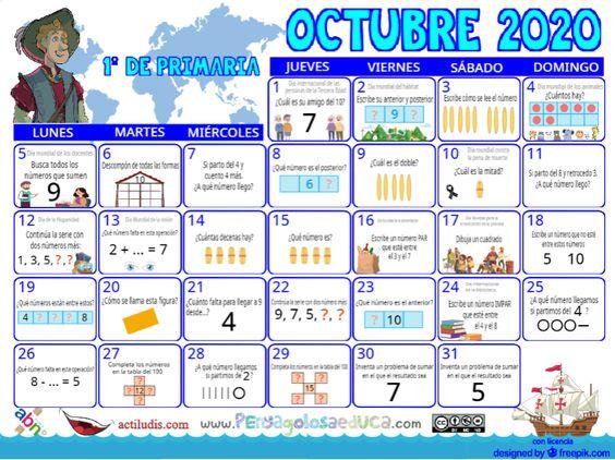 Calendario Primero ABN – Octubre 2020