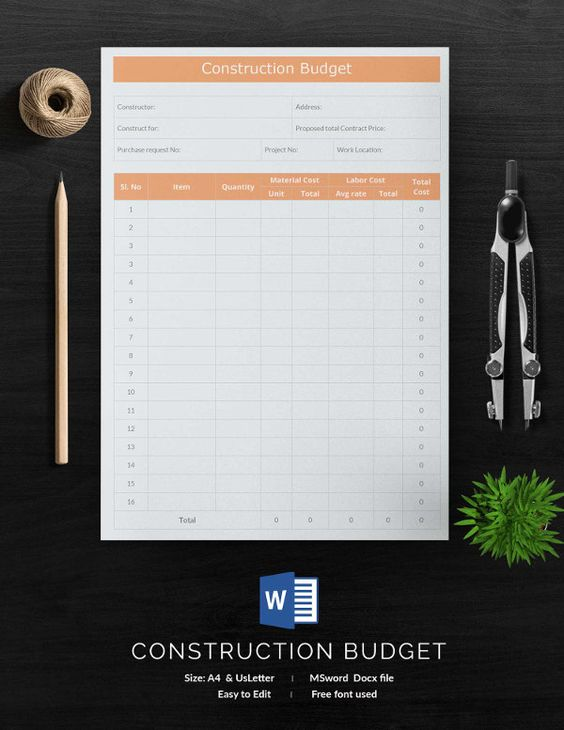 Construction Budget Template   Free Budget Templates