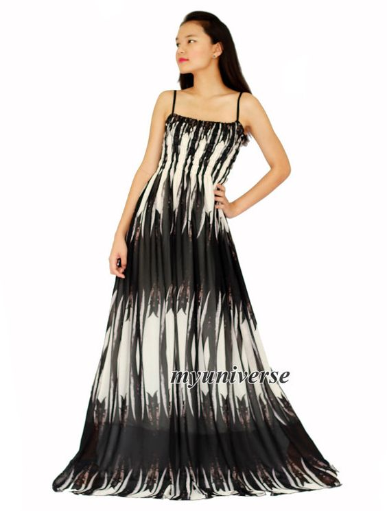 black and white line maxi dress gown prom plus size by myuniverse