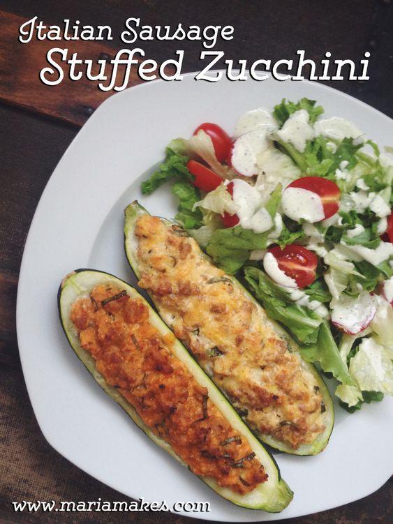 Sausage stuffed zucchini, Stuffed zucchini and Italian sausages on ...