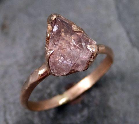 Raw Rough Champangne Pink Topaz 14k Rose gold Ring Gold Pink Gemstone Engagement Statement Ring Raw gemstone Jewelry byAngeline