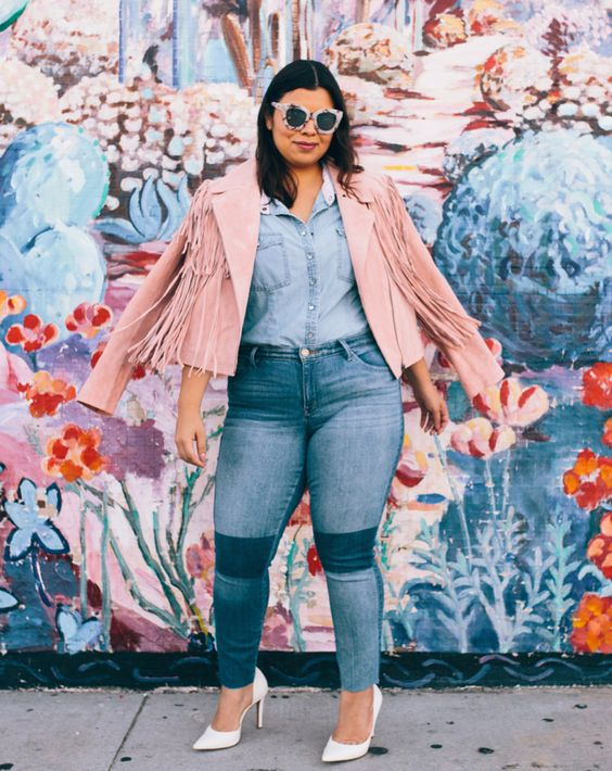 Plus Size Fashion for Women - Pink Biker Fringe Jacket - Jeans - Denim Chambray Shirt - Jay Miranda