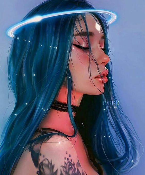 Blue Haired Angel Digital Art Girl Girly Art Anime Art Girl
