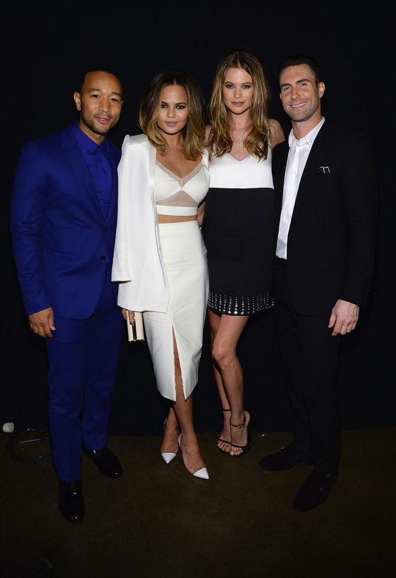 John Legend, Chrissy Teigen, Behati Prinsloo, and Adam Levine hung out backstage.