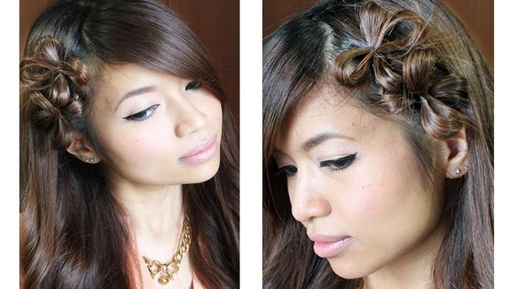 Flower Hair Bow Tutorial for Medium Long Hairstyles || I loved this in a picture I saw. I will definitely have to do this.!