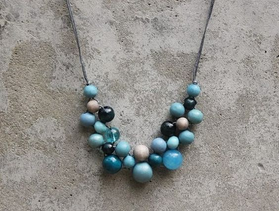 Wooden bead necklace, greyed jade, teal blue, aqua, bib necklace, boho bib necklace, contemporary necklace.  This one too.