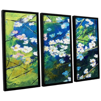 Alcott Hill Cherry Blossom 3 Piece Framed Painting Print on Canvas Set