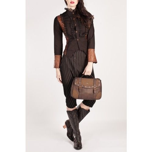 Brown Faux Leather Satchel with Striped Material
