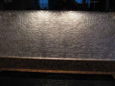 Fake it frugal fake punched tin backsplash it 39 s textured for Textured wallpaper for kitchen backsplash