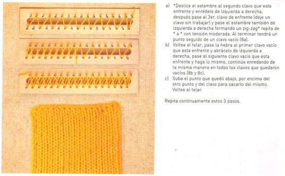 Loom Knitting Stitches Diagrams : telar rectangular Trapillo, Loom knitting stitches and Stitches