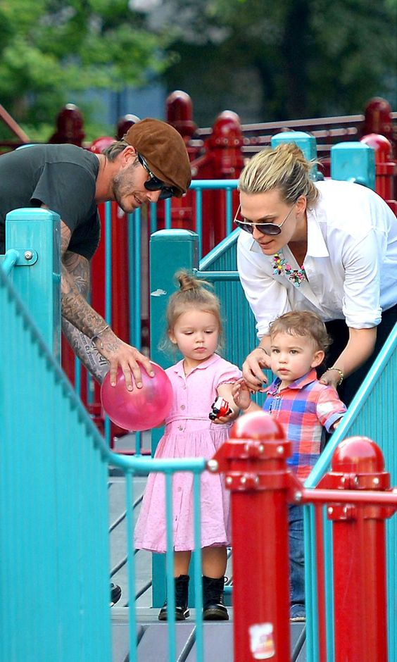 David and Harper Beckham With Molly Sims and Brooks Stuber