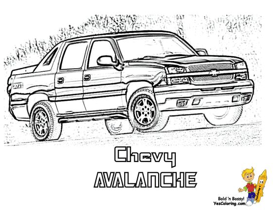 Chevy Avalanche Pickup Truck Coloring