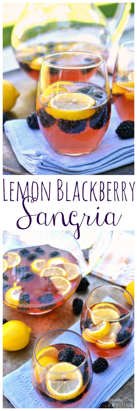 Make a pitcher of this Lemon Blackberry Sangria for your party and it's sure to be a hit! #ad