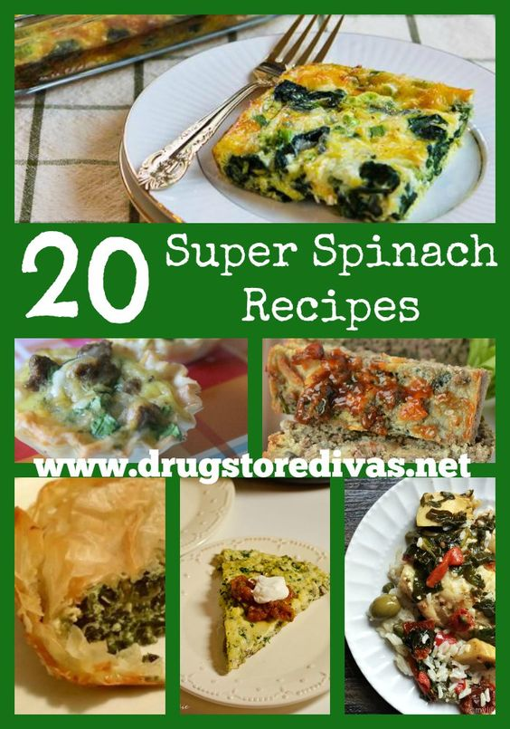Add some more spinach into your meals with these 20 Super Spinach Recipes from www.drugstoredivas.net.