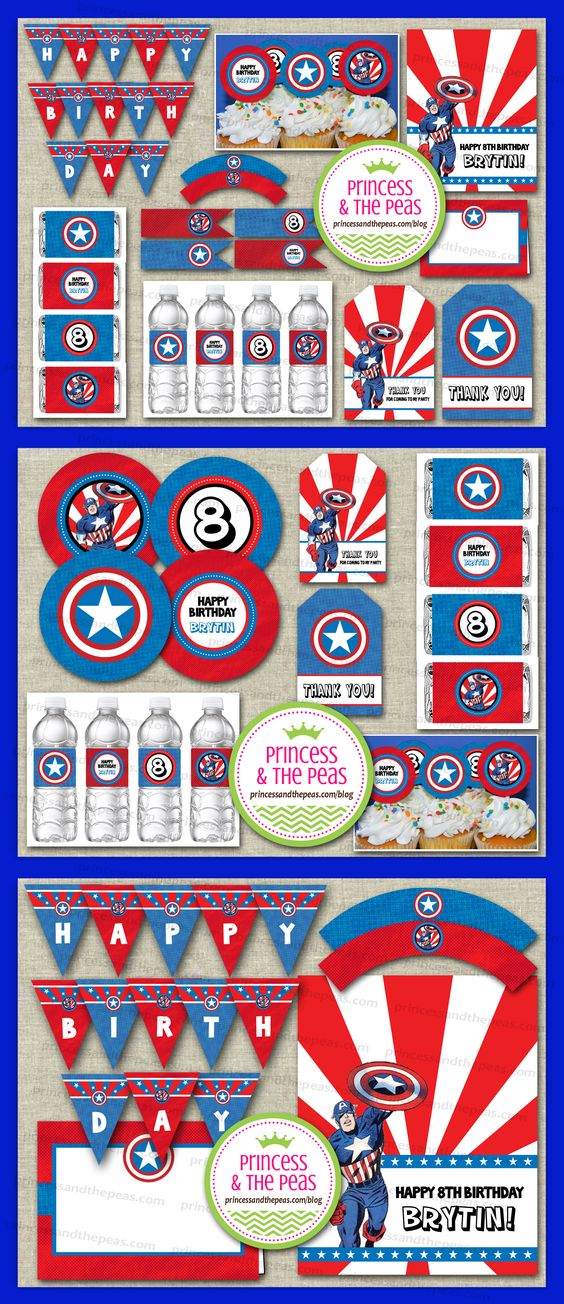 Captain America Party Printables | Captain America Party Ideas | Captain America Birthday | Captain America Cupcake Toppers    www.princessandthepeas.com/blog