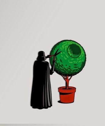 Galaxy Fantasy: Google+ Darth Vader es conocido por ahogar a sus comandantes, invadir planetas o ser motivo de terror para todos los habitantes de la Galaxia. Un buen día un soldado Inperial fotografio con su móvil al señor oscuro realizando labores de jardinería una de sus aficiones, con la que consigue relajarse, claro esta que su creatividad esta limitada a cortar setos con forma de la estrella de la muerte.